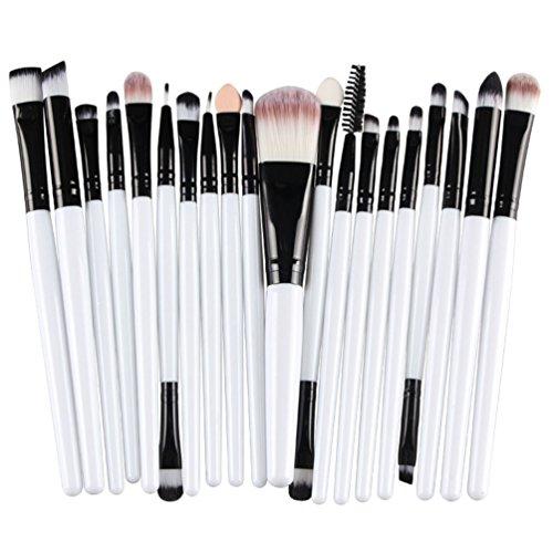 KOLIGHT 20 Pcs Pro Makeup Set Powder Foundation Eyeshadow Eyeliner Lip Cosmetic Brushes (Black+White)