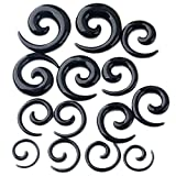 PiercingJ 14pcs 12G-00G Uv Acrylic Spiral Snail Plug Ear Stretching Kit (Many Colors) (Black)