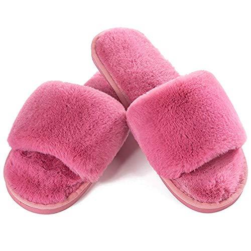 JOINFREE Women's Flip Flop House Slippers Slip-On Soft Warm Bedroom Spa Footwear Bare Rose Red 9.5-10.5 M US