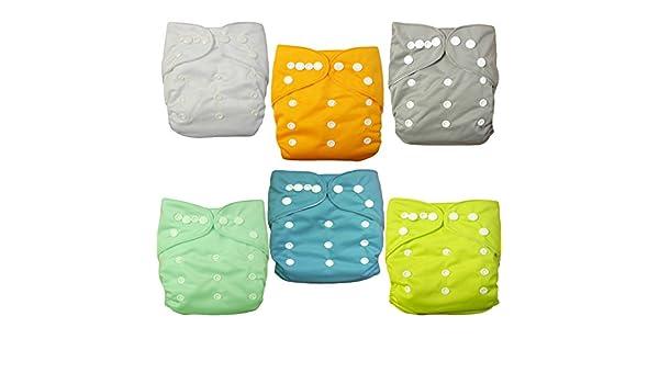 Amazon.com : Alva baby cada paquete tiene 6pcs pañal y 2 inserciones ajustado pañal lavable de tela (color para niñas)  6BM98-ES : Baby