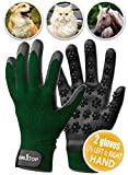 [2019 New Effective] Pet Grooming Gloves Set-of-2 for Dogs - Cats - Pets - Fast and Easy Hair Remover for Reducing Hair in Your Home - Car - Bed - Deshedding Gloves for Smoother Fur and a Happier Pet