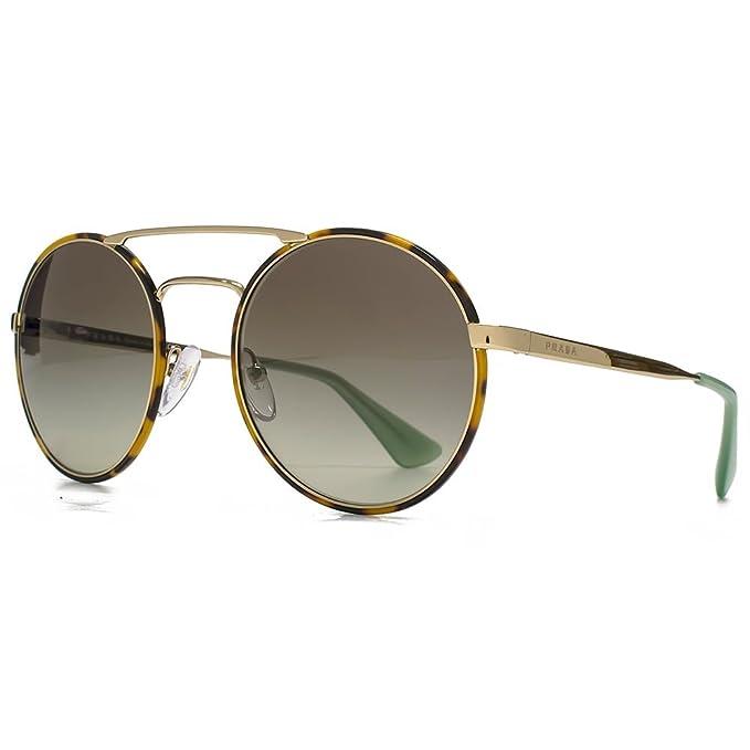 e8ec1fc316 Prada Doppio ponte occhiali da sole rotondi in metallo a L'Avana oro  pallido verde