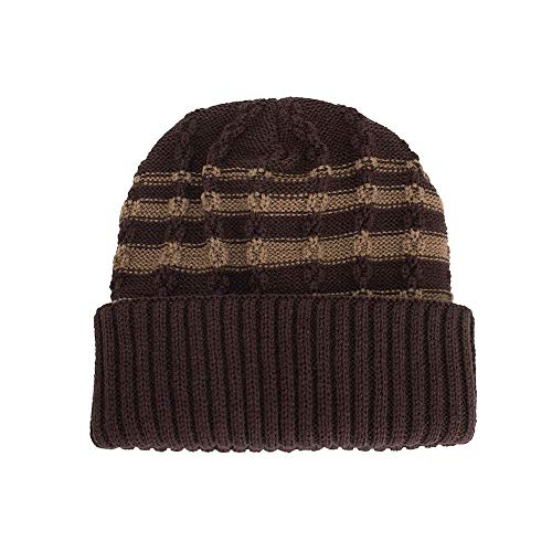 DEATU Knit Beanie for Women & Men Warm Baggy Weave Crochet Winter Wool Knit Ski Beanie Skull Caps Hat(B-Coffee)