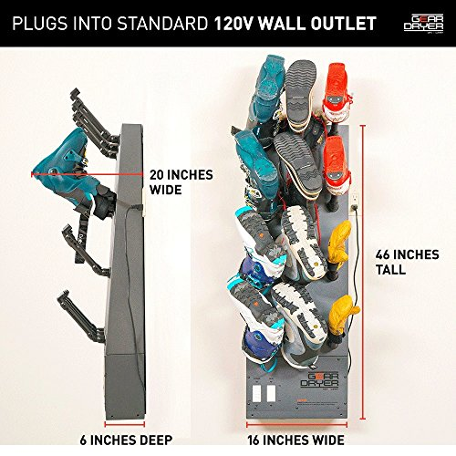 GearDryer Wall Mount 12 Boot and Glove Dryer | 6 Pair Boot, Shoe, and Glove Dryer | Dryer and Warmer for Ski Boots, Work Boots, Athletics, and More by GEAR DRYER DRY = WARM (Image #4)