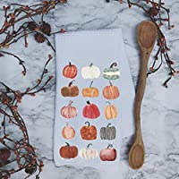 Watercolor Pumpkins Autumn Fall Waffle Weave Kitchen Towel Drying Cloth 16inch X 24inch White