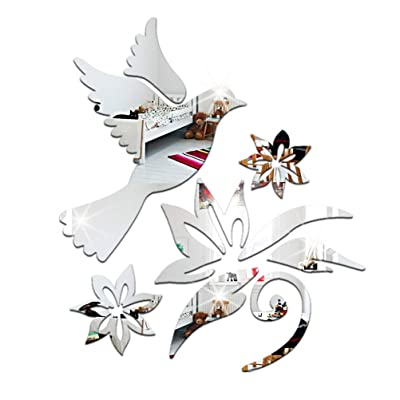 Peace Dove Pigeon Flowers Olive Branches Patterns Wall Decals DIY 3D Acrylic Mirror Surface Wall Sticker for Living Room Nursery Bedroom Mural(Silver): Kitchen & Dining