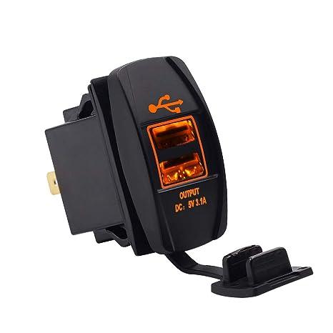 cargador USB para coche 12 V/24 V toma para cargador USB Dual Port ...