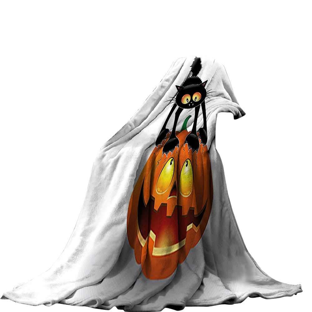 color10 60\ QINYAN-Home Soft Travel Blanket(60 x36  Velvet Plush Throw Blanket Halloween Decorations Black Cat on Pumpkin Head Spooky Cartoon Characters Halloween Humor Themed Art orange Black.