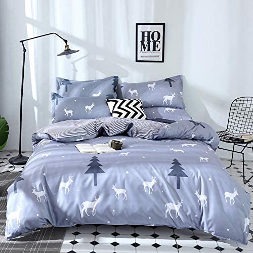 B07JLDNR44 YEARGER Home Textile Gray Bedding Set Deer Tree Duvet Cover Whale Bed Sheet King Queen Full Bed Linen AB Side Kids Bedding 51ZjvEOWLaL