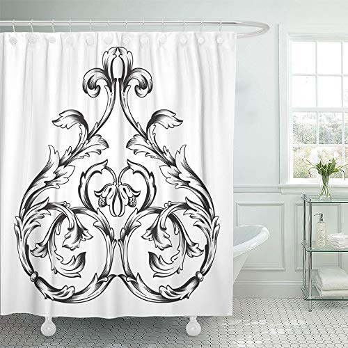 Emvency Shower Curtain Set Waterproof Adjustable Polyester Fabric Vintage Baroque Scroll Engraving Border Floral Retro Antique Acanthus Foliage 72 x 78 Inches Set with Hooks for Bathroom ()