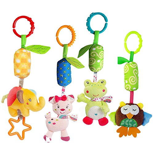 4 Packs Baby Stroller Toys Car Seat Hanging Bell For Boys Girls,Adorable Animal Infant Play Music Crib Toy Carseat Rattles Educational Toys,Kids Hand Bell Puppet With Cute Wind Chime And Squeak by Sealive