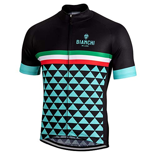 Bianchi Pro Cycling Jersey Short Sleeve Bike Top Quick Dry Men Summer Bicycle Clothes Black