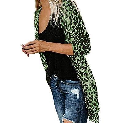 NUWFOR Womens Long Sleeve Leopard Print Fashion Coat Bllouse T-Shirt Tank Tops White