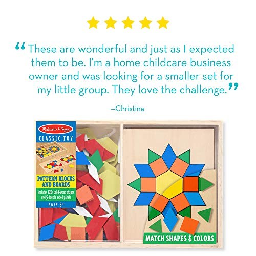 Melissa & Doug Pattern Blocks and Boards – Classic Toy With 120 Solid Wood Shapes and 5 Double-Sided Panels