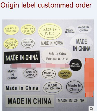 Origin label made in US made in Korea made in China adhesive sticker customized order 10000pcs