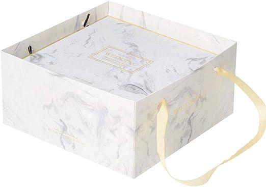 Betteros - Caja de Regalo Cuadrada para Regalo, cartón Virgen con diseño de mármol y Bolsa para Pasteles, Regalos, Chocolates, Joyas, Boda y Juguetes: Amazon.es: Hogar