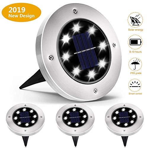 Solar Powered Ground Lights,Solar Garden Lights,IP65 Waterproof Outdoor 2.8 Inch Disk Solar Light with Super Bright 8 LED for Garden Pathway Yard, Driveway,White(4-Pack) (Lights Solar Bright Led Super Garden)