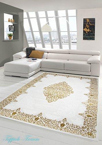 Designer Teppich Moderner Teppich Wollteppich Meliert Wohnzimmerteppich Wollteppich Ornament Creme Beige Gold Größe 80 x 300 cm
