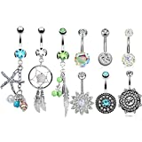 8 Pcs 14G Belly Button Rings for Women Girls Navel Ring Barbell Body Piercing Jewelry …