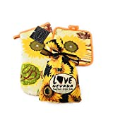 Sunflower Coffee Cake Baking Mix in a Fabric Bag Packed with Matching Floral Oven Mitt and Pot Holder