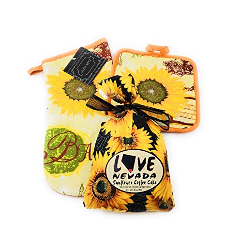 (Sunflower Coffee Cake Baking Mix in a Fabric Bag Packed with Matching Floral Oven Mitt and Pot Holder)