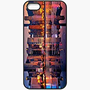 Protective Case Back Cover For iPhone 5 5S Case Hong Kong Sunset Building Black