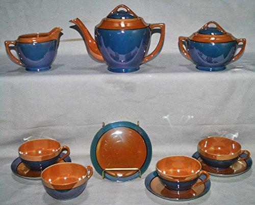 Meito Japan 13 Piece Lusterware Tea Set: Tea Pot, Cream, Sugar and 4 Cups with Saucers