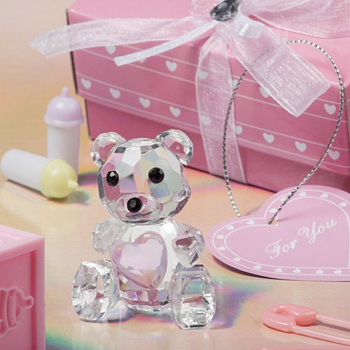 Fashioncraft Choice Crystal Collection Teddy Bear Figurines with Pink Heart -
