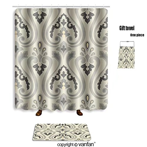Best Vanfan Bath Sets With Polyester Rugs And Shower Curtain Classical Style Pattern Seamless Background F