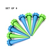 Zamango Automatic Garden Cone Watering Spike Water Control Drip Cone Spike Flower Plant Waterers Bottle Irrigation System,Green And Blue set of 8