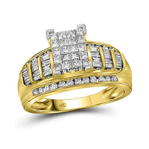 (Jewel Tie Solid 14k Yellow Gold Princess Cut Diamond Bridal Wedding Engagement Ring 1.0 Cttw - Size 8)