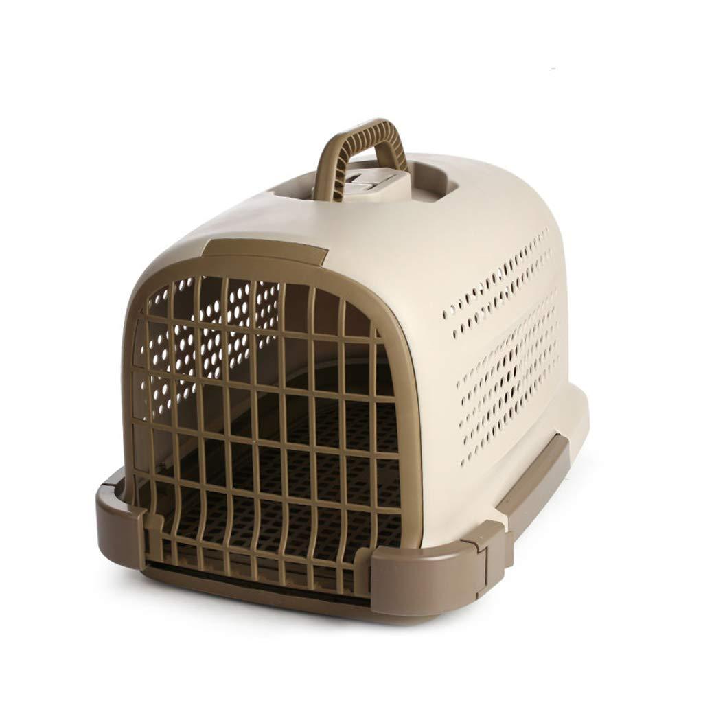 Brown BOY Pet air box portable pet transport box cat dog pet cage suitcase out cat dog 48  34  29cm