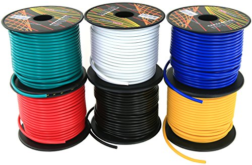 14 Gauge Single Conductor Stranded CCA Primary Wire 6 Rolls of 100 Feet (600 ft total) Car Audio Amplifier Remote Turn on Trailer Signal Wiring. Cable Color: Black Red Blue Green White Yellow (14 Gauge Wire Diameter)