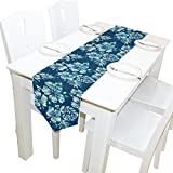 Yochoice Table Runner Home Decor, Vintage Tropical Hawaiian Flowers Table Cloth Runner Coffee Mat for Wedding Party Banquet Decoration 13 x 70 inches