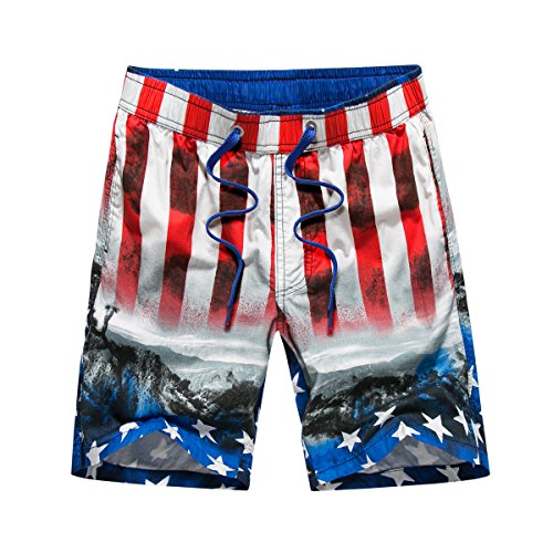 761af1731f ELETOP Men's Swim Trunks Quick Dry Board Shorts with Drawstring and Cargo  Pocket American Flag Red 27