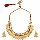 Efulgenz Indian Bollywood Traditional White Red Green Rhinestone Faux Ruby Emerald Heavy Bridal Designer Jewelry Choker Necklace Set in Antique 18k Gold Tone for Women and Girls (Style 3)