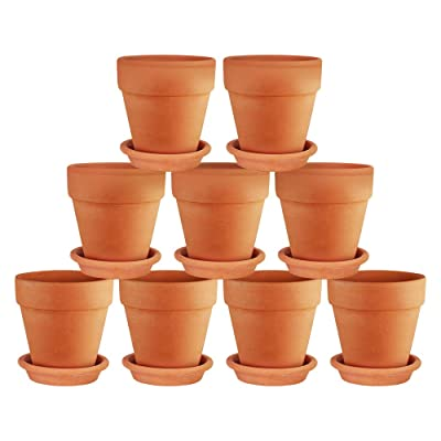 Terra Cotta Pots with Saucer- 9-Pack Clay Flower Pots with Saucers, Mini Flower Pot Planters for Indoor, Outdoor Plant, Succulent Display (3 inches): Garden & Outdoor