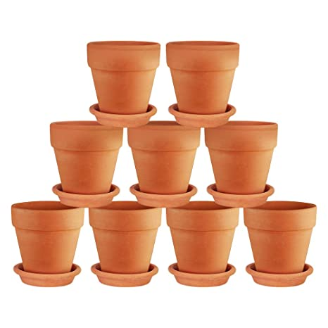 225 & Terra Cotta Pots with Saucer- 9-Pack Clay Flower Pots with Saucers Mini Flower Pot Planters for Indoor Outdoor Plant Succulent Display (3 inches)