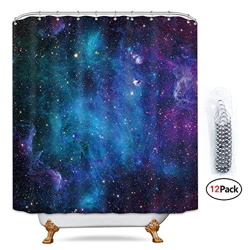 Riyidecor Galaxy Outer Space Nebula Shower Curtain Set 72x78 Inch Metal Hooks 12 Pack Universe Planets Magical Fantasy Star in Blue Sky Ocean Decor Fabric Panel Bathroom -