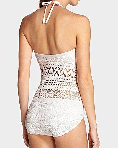 Moollyfox 2016 Nuevo Mujeres Spaghetti Straps Cordón Del Ganchillo Playa Trajes De Baño Con Encanto Swimwear Women Beachwear Blanco
