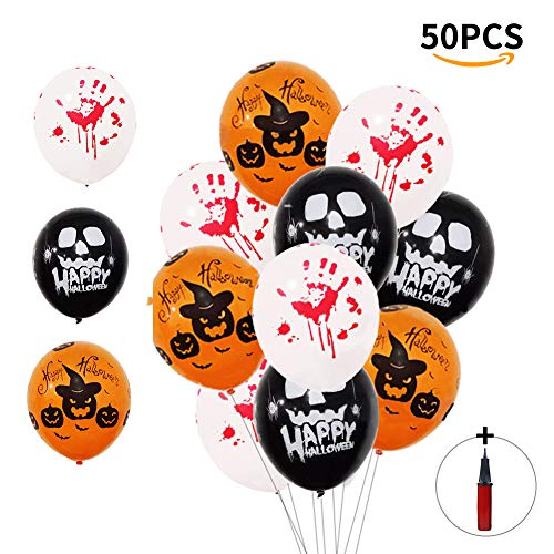 OSOPOLA Halloween Balloons Decorations - Latex Skeleton Pumpkin Ghost Balloons with an Air Pump - Blood Handprint Horror Balloons for Halloween Party Supplies 50Pcs 12 Inches (Black Orange White) ()