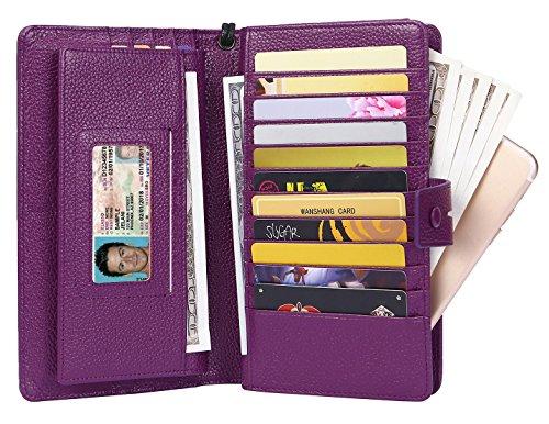AINIMOER Women's Big RFID Blocking Leather Zip Around Wallets for Womens Clutch Organizer Checkbook Holder Large Travel Purse(Lichee Purple) by AINIMOER (Image #3)