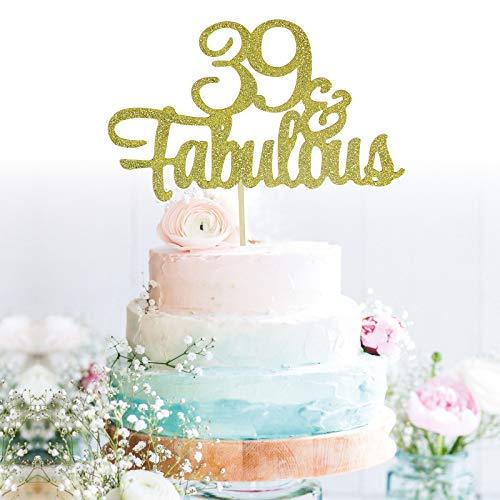 GrantParty Glitter Gold 39&Fabulous Anniversary Cake Topper We Still Do 39th Vow Renewal Wedding Anniversary Cake Topper(39 Gold)
