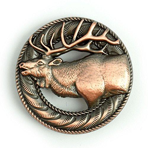 Bugling Elk Screwback Conchos with an Antique Copper Finish.