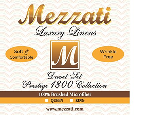 Mezzati Luxury Duvet Cover 3 Piece Set – Soft and Comfortable 1800 Prestige Collection – Brushed Microfiber Bedding (Gold, Queen Size)
