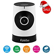 Faittoo 720P 180-Degree Wi-Fi Camera w/ Email Alarm 1.44mm Lens 25ft IR Night Vision Smartphone Remote View Two Way Audio Talk Pet/Baby Monitor Panoramic Wireless Home Security Camera