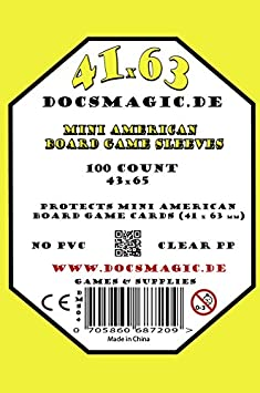 100 Docsmagic.de Mini American Board Game Sleeves Small US 41 x 63 43 x 65