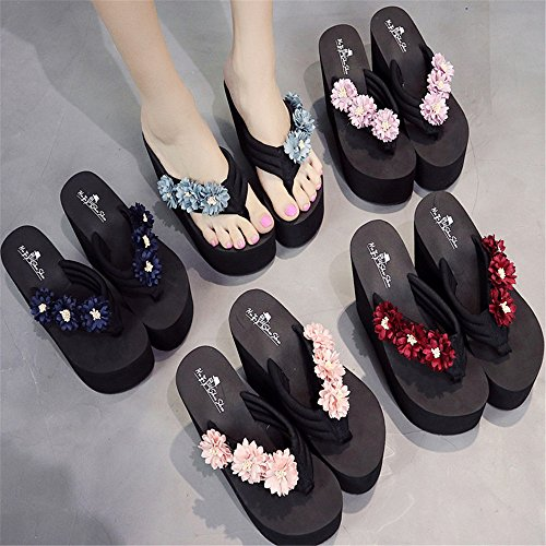 et Color Light Fleur Tongs Sandales Sweet Forme Size Talons 36 beauty Light Angel Hauts EU Décoration Plate Tongs Épais love Lady Blue à Wedge Blue Pantoufles Sandales xTqw4Iw6H