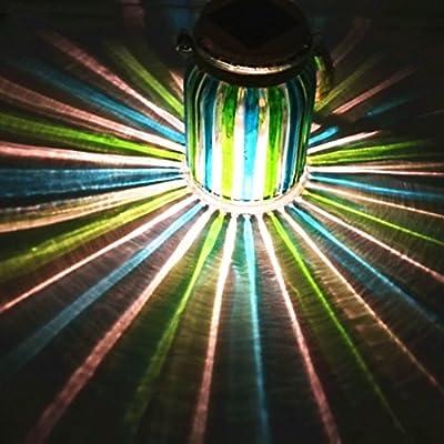 Sogrand Green Stripe Copper Cap Glass Jar, Solar Lights Outdoor, Thick Hanger