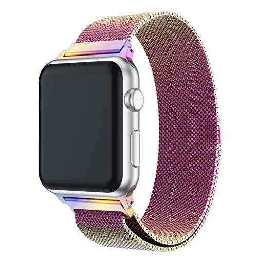 (BIYATE Compatible with Apple Watch 38mm 40mm Band,Sport Stainless Steel Milanese Mesh with Magnetic Clasp Replacement Band Strap Bracelet Accessories for Series 1 2 3 4 Rose Gold (Multicolor 1) )